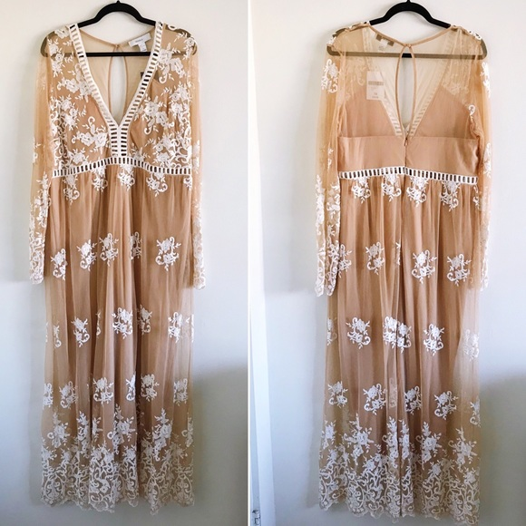 Embroidered Lace Maxi Dress Nwt